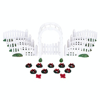 Plastic Arbor & Picket Fences With Decorations, Set O...