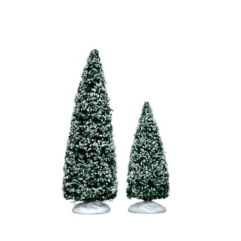 Snowy Juniper Tree, Medium & Small, Set Of 2