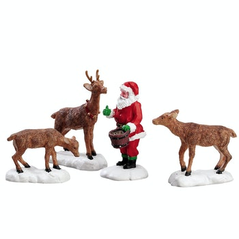 Santa Feeds Reindeer, Set Of 4