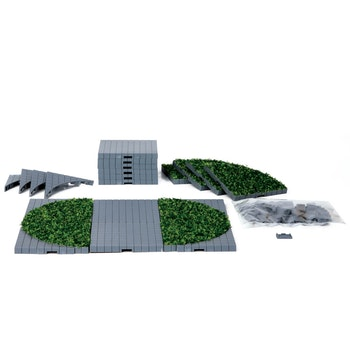Plaza System (Grey, Round Grass) - 24 pcs