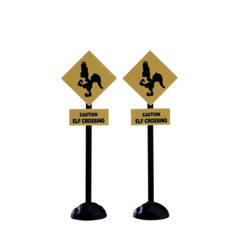 Elf Crossing Sign, Set Of 2