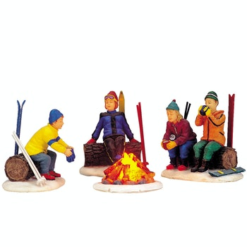 Skiers' Camp Fire, Set Of 4
