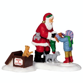 Santa And Kittens, Set Of 2