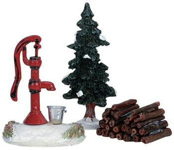 Water Pump, Tree & Firewood, Set Of 3