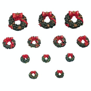 Wreaths With Red Bow, Set Of 12