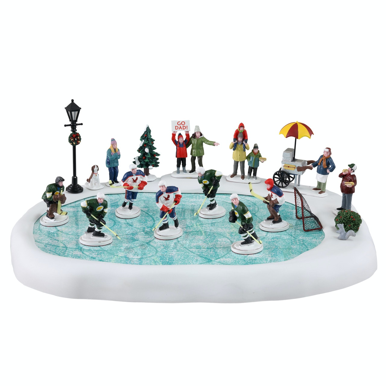 Christmas Village Ice Skating Rink.Hockey In The Park Set Of 19