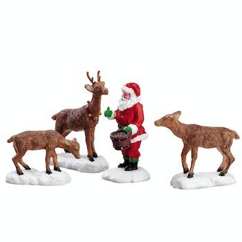 Santa Feeds Reindeer, Set Of 4