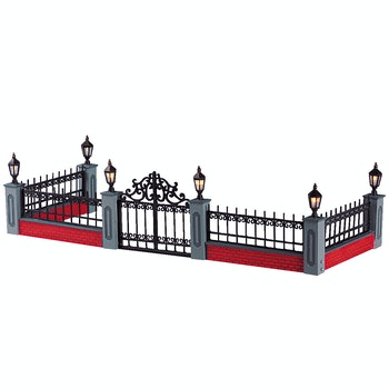 Lighted Wrought Iron Fence, Set Of 5