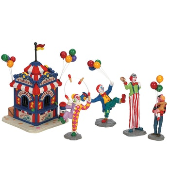 Carnival Ticket Booth With Figurines, Set Of 5