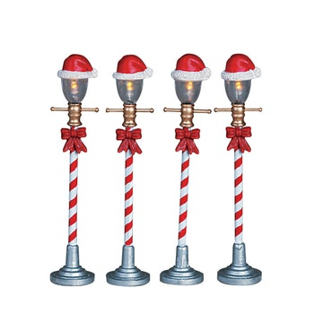 Santa Hat Street Lamp, Set Of 4