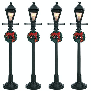 4 Gas Lantern Street Lamp, Set Of 4