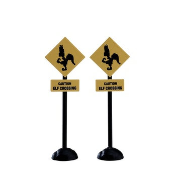 Elf Crossing Sign, Set Of 2