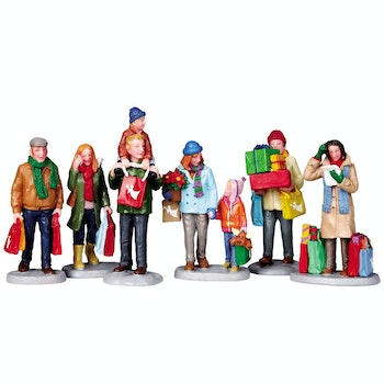 Holiday Shoppers, Set Of 6