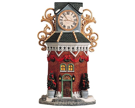 Town Clock Tower Lighted